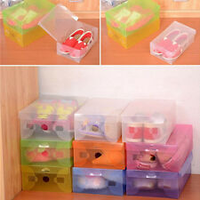 1 X Clear Plastic Storage Shoe Boxes Stackable Tidy Organizer Box Foldable