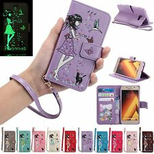Lovely Luminous Flip Leather Kickstand Wallet Case Cover For Samsung A3 A5 2017