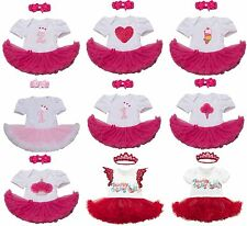 Cute Character Print Baby Girl Short Sleeve Holiday Birthday Party Tutu Dress