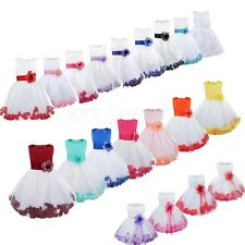 Petals Flower Girl Dress Wedding Bridesmaid Princess Formal Party Gowns Pageant