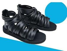 Fashion Mens pu Leather strap Runway zipper Ankle Boots Gladiator Roman Sandals