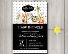 Custom Printable Baby Shower invitation Jungle Animals Black and White Neutral