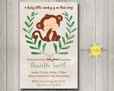 Custom Baby Shower Invitation Cute Cheeky Monkey with Leaf &  Brown Watercolour