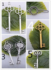 Wholesale 5pcs/10pcs/50pcs Tibet Silver Key Crafts Charm Pendant Making Jewelry