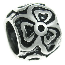 Sterling Silver Round 3 Petals Flower Blossom Bead For European Charm Bracelets