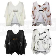 Womens Ladies Sheer Chiffon Belted Butterfly Blouse Drape Batwing Gypsy Top 8 14