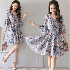 Korean Casual Summer Fashion Women Long Section Flounced Sleeved Floral Dress