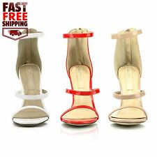 Womens Strappy Heels Metallic Dress Sandals Open Toe Faux Patent Leather Shoes