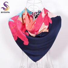 Pink Silk Scarf Shawl Scarves Daylily Leopard Print Square Scarves Wraps