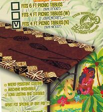 Hawaiian Fitted Tablecloth 4 x 2 feet picnic table Luau party  cover ( 6 colors)