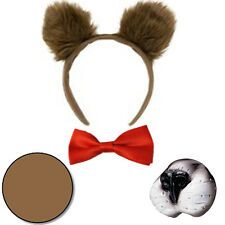 Fancy Dress Baby Bear Costume Set Fluffy Plush Ears Bow Tie Nose Face Paint WBD