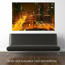 Wall Art Canvas Print Picture Chicago City Cityscape Night -Unframed