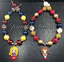 Super Girl and Wonder Woman Clay Chunky Bubblegum Necklace