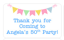 PERSONALISED STICKERS LABELS ADDRESS PARTY SWEETIE CONES BUNTING BLUE
