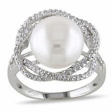 Amour Sterling Silver White Pearl and Cubic Zirconia Cocktail Ring 10-11 mm