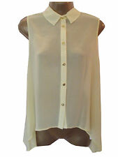 New Atmosphere @ Primark Yellow Top Size 10 Chiffon Blouse Sheer Summer