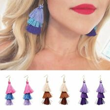 Fashion Three Color Tassel Fringe Dangle Drop Hook Ear Earrings Women Jewelry
