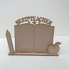 MDF Wooden Craft Shape Blank Best Teacher BOOK on STAND Pencil & Apple Plaque