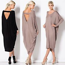New Ladies Backless Oversize Baggy Long Party Club Wear Midi Dress Plus Size Top