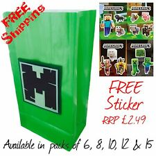 Minecraft themed Handmade Birthday party bags with FREE J!NX sticker!