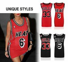 Womens Ladies Celebrity Inspired Bulls 33 Print Vest Sports Top T Shirt UK 8-14