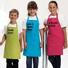 KIDS  GIRLS  APRON PERSONALISED PRINTED YOUR TEXT 12 COLOURS 2 SIZES FREE P&P