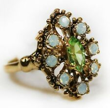 Vintage Peridot Austrian Crystal & Pinfire Opals Filigree Cocktail Ring USA 250
