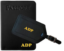Personalized Monogrammed Leather RFID Passport Holder Cover and Luggage Tag