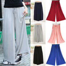 Fashion Women Ladies Casual High Elastic Waist Pants Wide Leg Loose Trousers