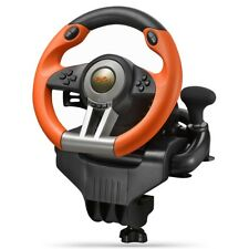 V3II USB Game Racing Wheel with Dual Motor Vibration/180 Degree Steering for PC