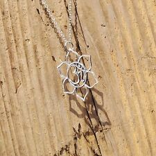 Sterling Silver Large Lotus Flower Ohm Om Charm Pendant Yoga Necklace