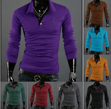 Mens Stylish Slim Fit Long Sleeve Casual Polo Shirt T-shirts Fashion Tops xc