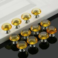 Yellow Dia 30mm Knobs Pulls Crystal Glass Drawer Wardrobe Cabinet Kitchen Handle
