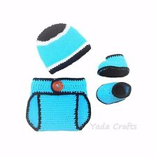 Crochet Baby Carolina Panthers Diaper Cover Set/Hat/Shoes Photo prop baby gift