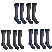 2 Pairs Men Striped Breathable Over-the Calf Silk Sheer Thin Crew Socks Business