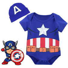 Baby Boy Captain America Costume Bodysuit Cute Infant with Hat 0-18 Months