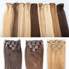 """Remy Straight Clip In Hair Weft Human Hair Extensions 14""""-26"""" 70g 120g 7pcs/set"""
