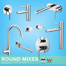 Round Kitchen Tall Basin Sink Shower Mixer Wall Mount Water Spout Hot Cold Tap