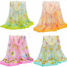 Women Girls Chiffon Butterfly Long Soft Scarf Shawl Wrap Scarves Stole Fashion 2
