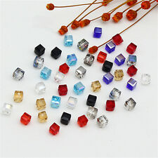 Cube Spacer Beads 4mm/6mm DIY Glass Square Crystal Faceted Loose 10Pcs