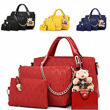 Women Handbag Shoulder Bags 4Pc Set Leather Messenger Bags Crossbody Wallet 27c