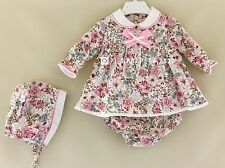 BABY GIRLS SPANISH PINK CREAM FLORAL DRESS PANTS BONNET SET 3 6 12 18
