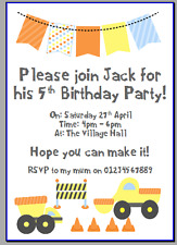 personalised paper card birthday party invites invitations DIGGER CONTRUCTION #1