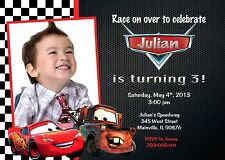 Cars, Lightning McQueen, Tow Mater, Birthday Party Invitation