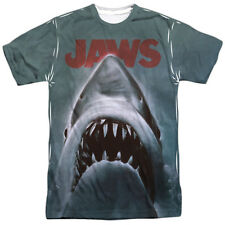 JAWS 1975 Vintage Movie Poster Sublimation Poly Licensed Adult T-Shirt SM-3XL