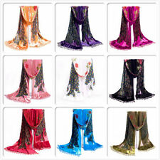 HOT Lady Women Peacock Beaded Velvet Silk Tassels Embroidered Scarf Wrap Shawl