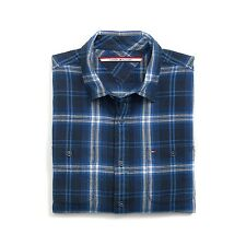 New Tommy Hilfiger Mens Custom Fit Longsleeve Button Shirt Blue Plaid NWT