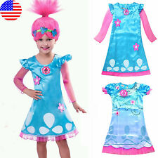 Kids Girl Fancy Dress Wig Trolls Poppy Costume Child Cosplay Party Outfit Set US