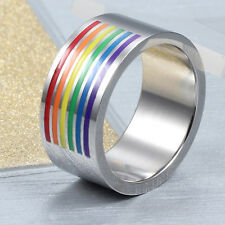 Unisex Gay Rainbow Striped Stainles Steel Ring -Various Sizes - Brand New