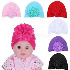3pc Newborn Toddler Baby Girl Kids Lace Floral Knotted Hat Cap Beanie Prop Photo